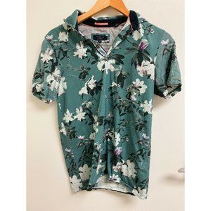 Ted Baker Mens Floral Polo Shirt 100% Cotton